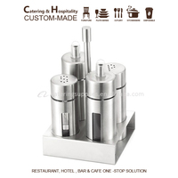 4pieces/set 304 Stainless Steel Salt Pepper Shaker Set Odor-free Spice Cruet with Stand Condiment Box Cooking Seasoning Bottles