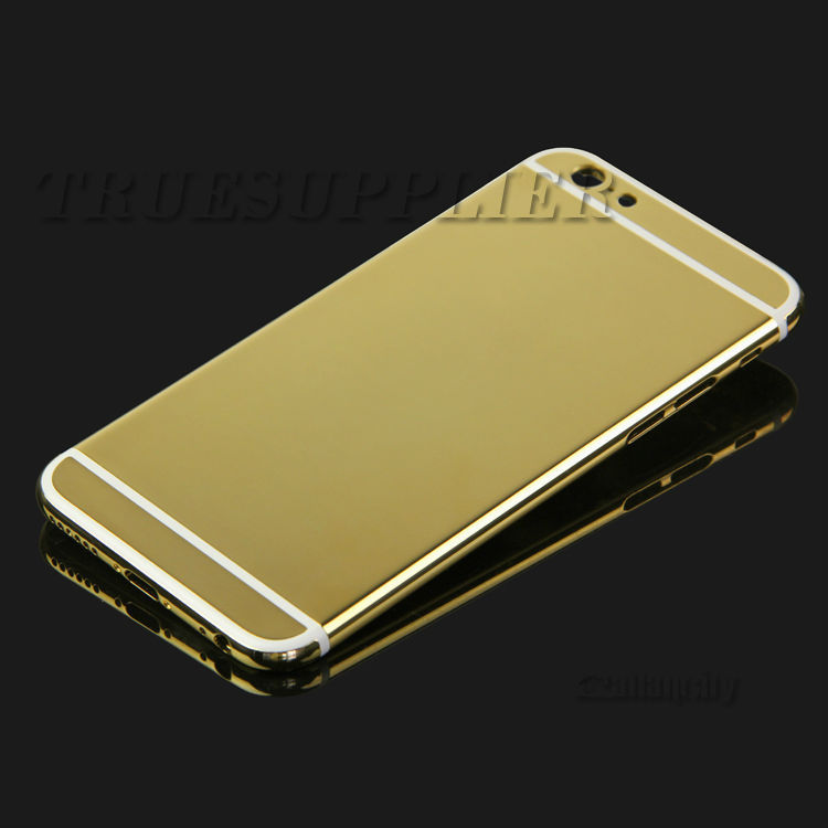 For iPhone 6 4.7 Back Cover Housing Middle Frame Bezel plated 24k real Gold