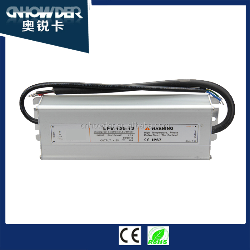 Mean Well 120W 12V/15v/24v variable voltage dc IP67 Outdoor LED swithing Power Supply LPV-120 with high reliability