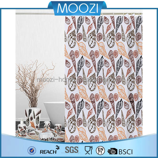 Beach Conch Sea Snail Pattern Bathroom Shower Curtain Fabric with Hooks