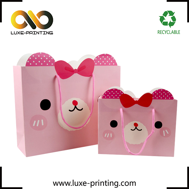 Cute design cat shaped unique paper gift bag birthday paper packaging bag