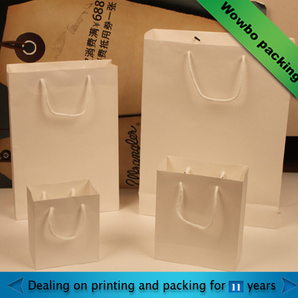 plain white kraft paper bag for shopping made in china