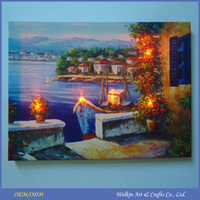 Professional manufacurer mediterranean landscape oil paintings with LED light
