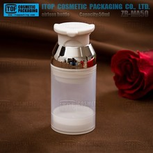 ZB-MA50 50ml glossy silver neck natural plastic bottle frosted clear bpa free wholesale small cosmetic containers