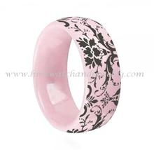 "Fashion jewelry, comfort fit laser ""flower & tree"" pink ceramic ring"