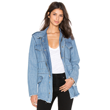 Factory cheap casual loose jean jackets stylish women jacket 2016