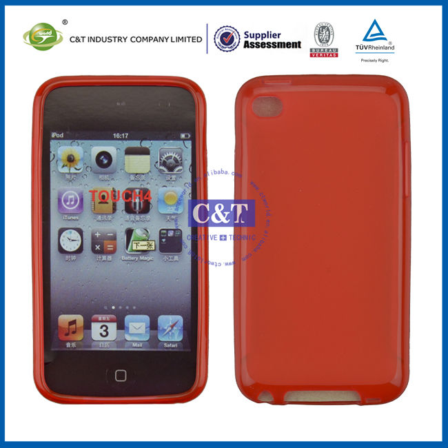 C&T Bright red tpu soft back cover for ipod touch 4 case
