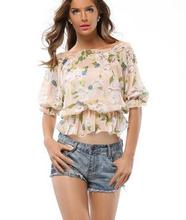 Elegant ladies shirts western woman fancy blouse fashion chiffon flower print top
