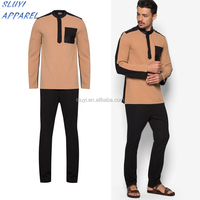 High Quality Arab Men Islamic Clothing shirts and pants Mens Kaftan spandex polyester 2017 arab men robe