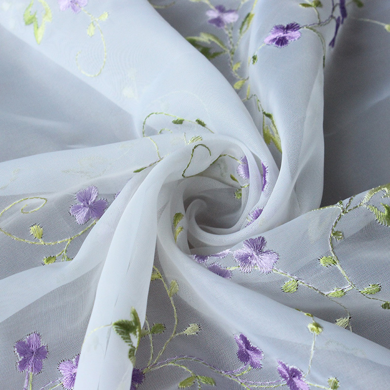 2015 purple romantic flower pattern embroidery on fabric