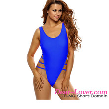 Royal Blue Strappy High Leg Lace Up Back One Piece Swimsuit Picture Woman Usa Sex Sex Sexy Ladies Swimsuits