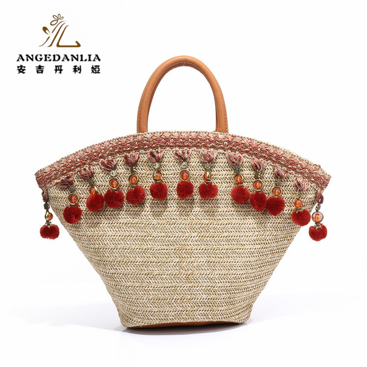 2017 Popular pom pom Straw Basket <strong>Bag</strong> Tote <strong>Bag</strong> For Shopping