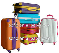 abs colorful zip travel trolley luggage bags