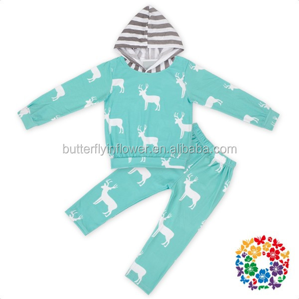 Deer Printing Hoodies Shirts With Long Pants Girls Boutique Outfits Wholesale Children Clothing usa