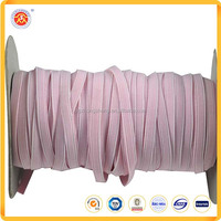 8mm Pink Elastic Fabric Custom Design Rubber Core Braided Elastic Band For Garment