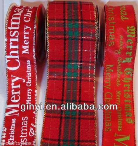 Promotion polyester black and white plaid ribbon with metal tips endings for gift packing