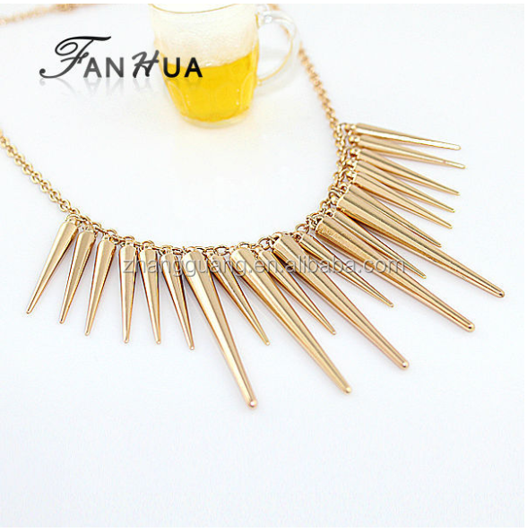 Collares 2015 Pendant Necklace Gold Silver Color Spike Steampunk Necklace & Pendants New Fashion Bijoux Women