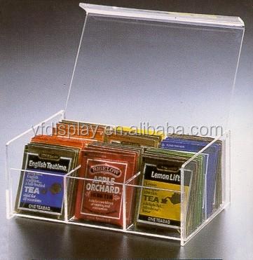 Acryl klar Tee Box 5 F/ächer Container Tasche Caddy Brust f/ür Tee und Kaffeebeutel