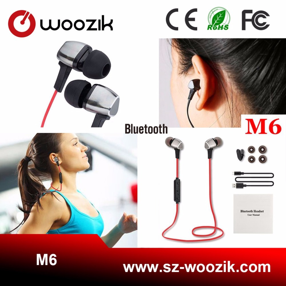 Bluetooth 4.1 Headphones Waterproof Micro Usb Earphones 10M Transmission M6 Wireless Bluetooth Earbuds With Ce Fcc