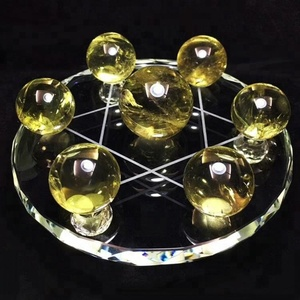 Natural Citrine ball Quartz Crystal Sphere crystal Ball Seven star array