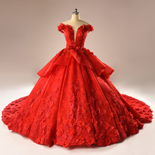 Real New Cap Sleeve Bowknot Arabia Dubai Red Lace Appliques Beaded Ball Gowns Night Chapel Train Evening Party Dress 2018