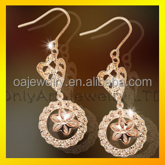 sterling silver made gold plated CZ inlaid lady's earrings