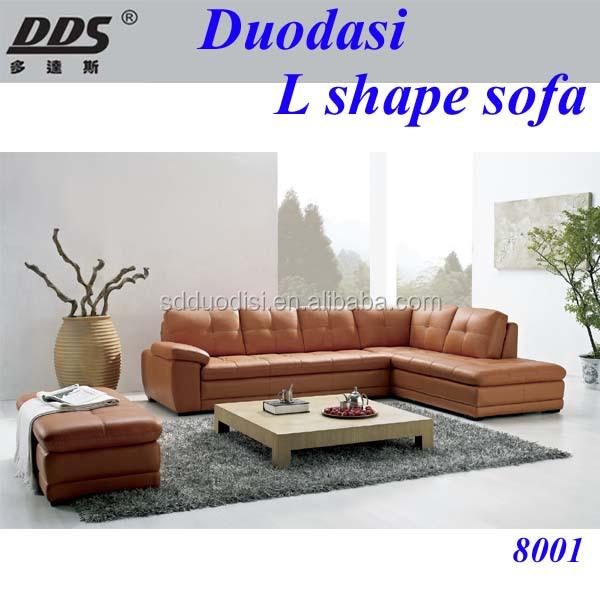 2016 New L Shaped Orange Color Modern Italian Leather Sofa Designs 8001
