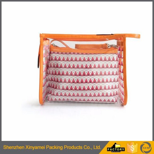 OEM design PVC bag/ clear pvc cosmetic bag with zipper/ Lady makeup brush bag Transparent PVC makeup cosmetic bag with zipper