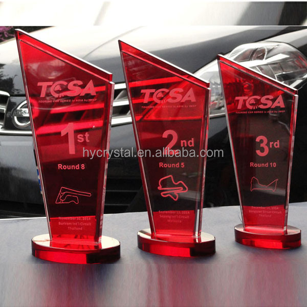 high quality crystal hand trophy and customized red award