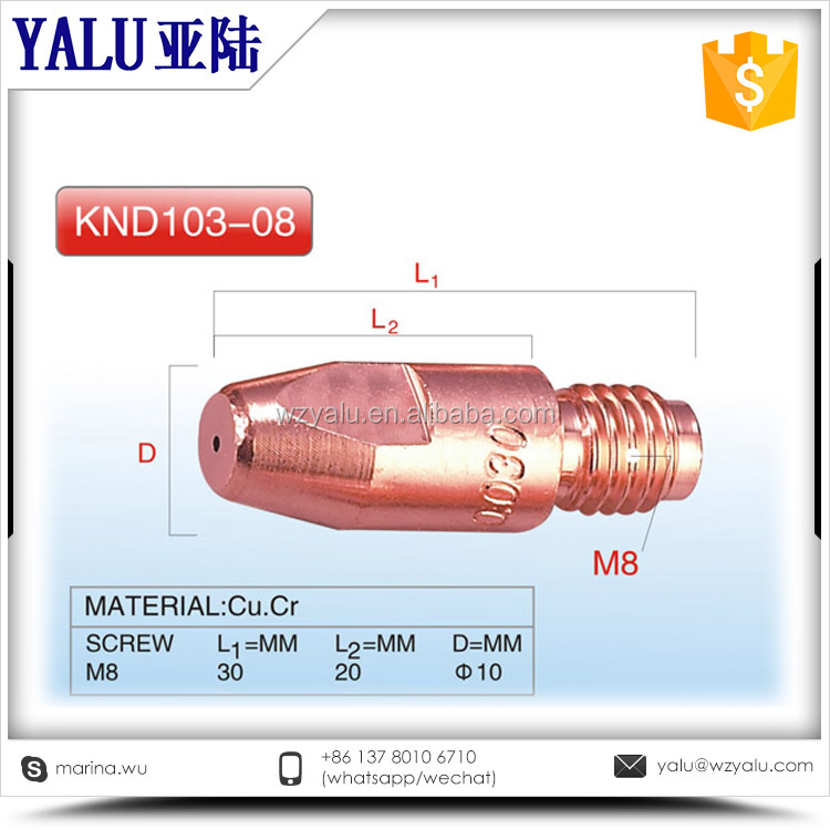 Factory directly sell Full material cucrzr copper co2 welding torch contact tip