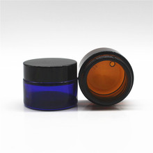 hot selling skin care cream empty blue glass jar 30g with black plastic cap