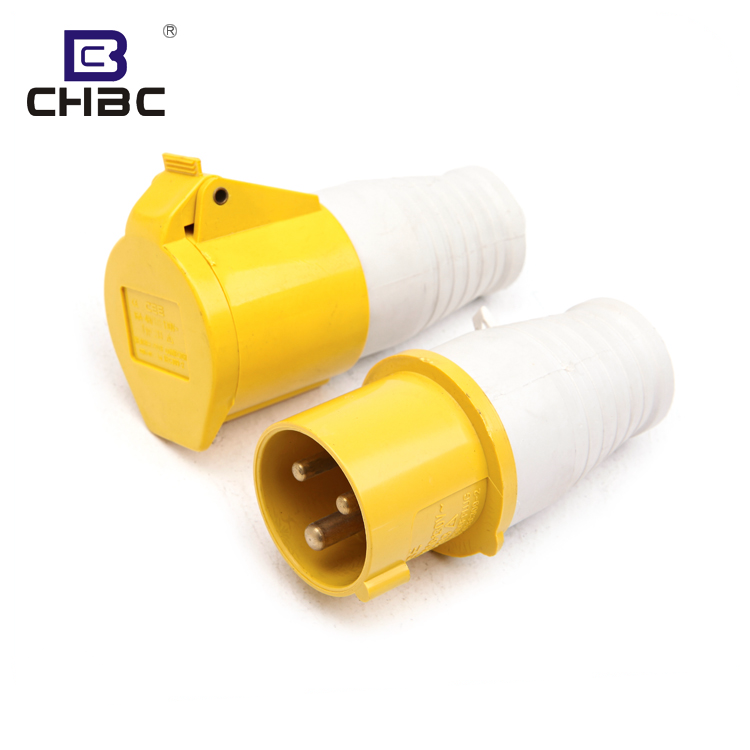 CHBC March Expo 3 Pin 16A 32A IP44 IP67 Yellow Industrial Power Plug And Socket