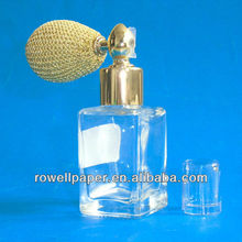 30ml/ 1oz square spray bottles with gold bulb atomizers manufacturer made in China