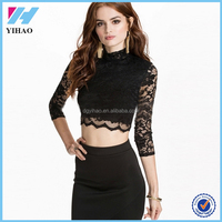 Full Lace 3/4 Sleeve Ladies saree blouse hand designs Women High Neck Sexy Brand Short Clothes OEM latest fashion blouse design