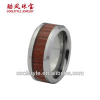 Red wood inlay tungsten ring