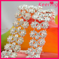 wholesale new clear stone bow-knot shape rhinestone crystal cup chain for dress belt WRC-227