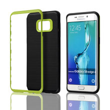 C&T Brushed 2in1 Layer PC Bumper+TPU Combo Armor Defender Cell Phone Case for Samsung Galaxy S6 Edge Plus
