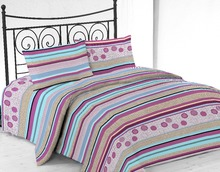 Microfiber Printed Bed Sheet Set With Lilac Stripe Design