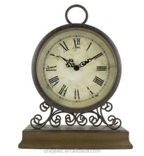 Wood retro table clock for home decor