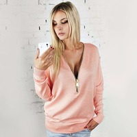 Walson 2015 Women Cotton Zip Front Long Sleeve Blouse
