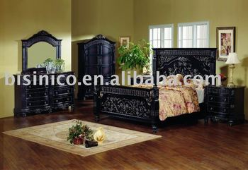 Classical solid wood bedroom sets with hand carving details,night stand,dresser,mirror,chest,TV armoire,American furniture