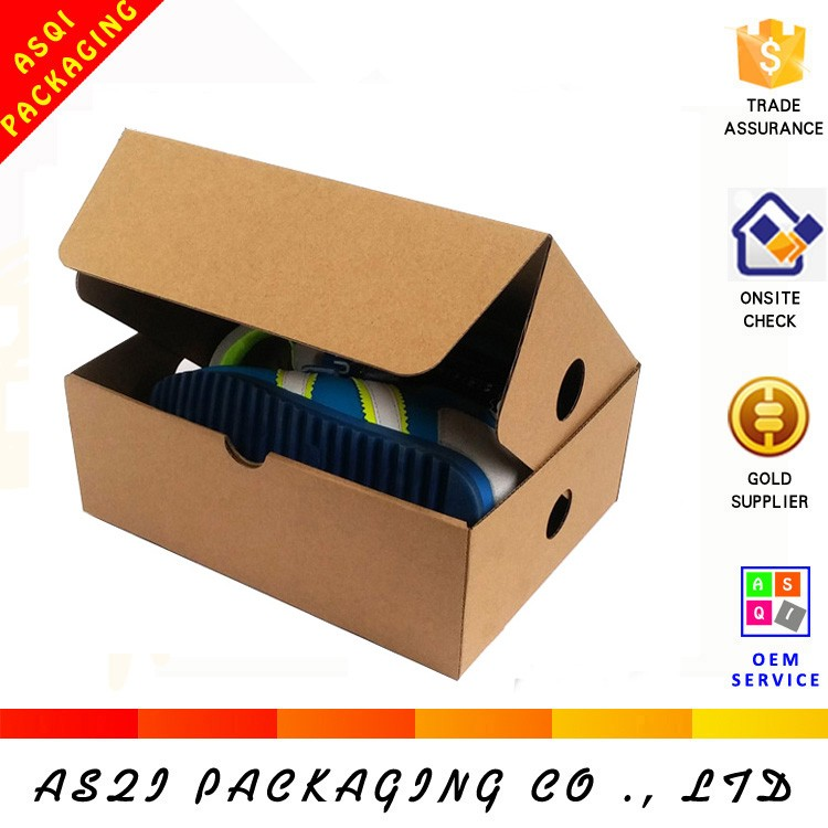 Alibaba custom design recycle eco-friendly brown paper baby shoe box for storage