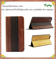 Flip Wood Leather cover case, Book style flip leather Slot Wallet Cellphone Case For iPhone 6