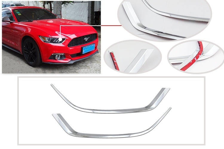 Auto Exterior Accessories ABS Plastic Chromed Head Lighting Cover for Ford Mustang 2015-2017
