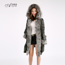 Wholesale New Duck Down Feather Dress Hooded With Big Natural Silver Fox Fur Collar Hot Sale Winter Women And Ladies Long Coat