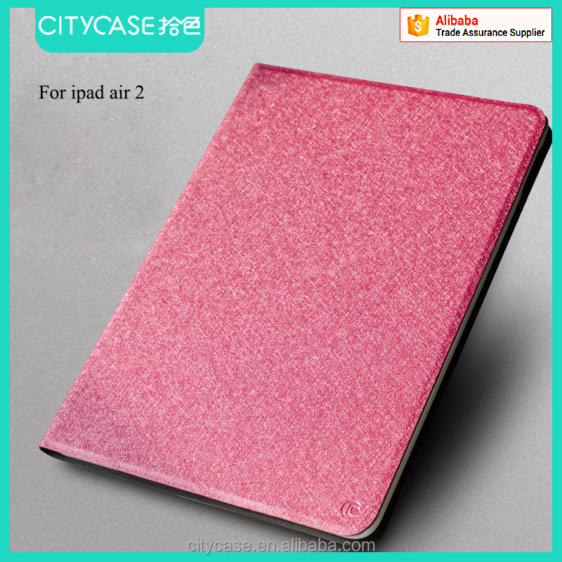 city&case silk grain fabric leather case for ipad 6