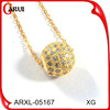Pave zircon fashion beautiful gold bead pendant necklace