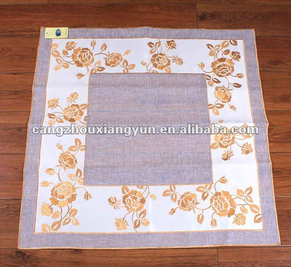 White Handmade Polyester Wedding Embroidered Tablecloth with Beads