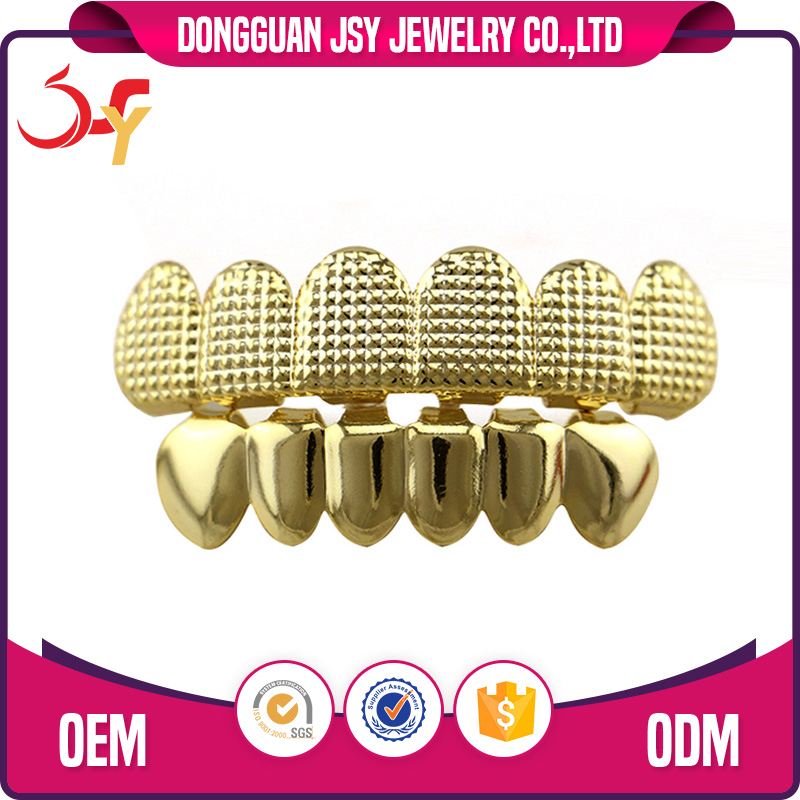 Brass Material Hiphop Jewelry Lattice Grid Hip Hop Teeth Grillz Top and Bottom Grill Set