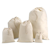 recycled high quality cotton cloth drawstring bag